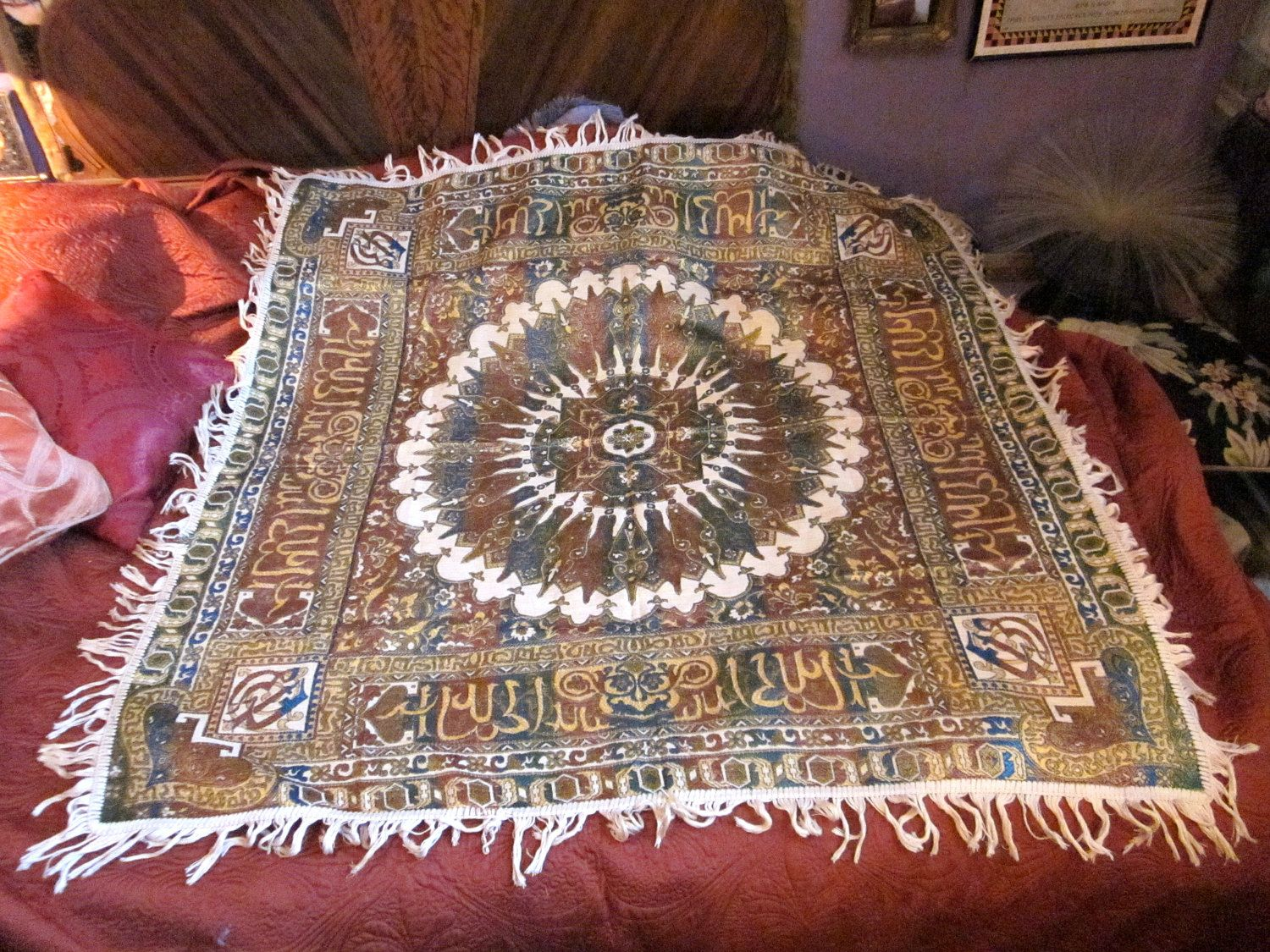 Authentic Vintage Traditional Middle Eastern Arabic Silk Bedspread Tapestry Wall Hanging With Arabic Cursive Text Bord Tapestry Wall Tapestry Vintage Bedspread