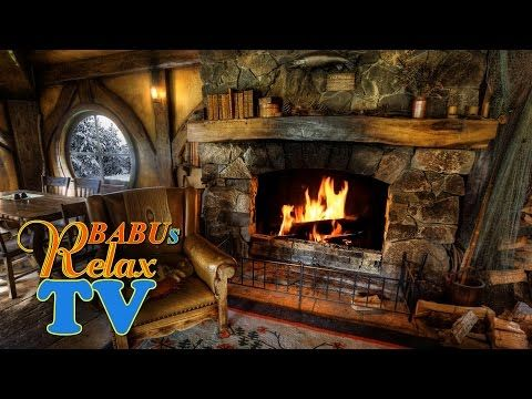 RELAXING ATMOSPHERE Beautiful Snow with Fireplace Sounds - Sleep