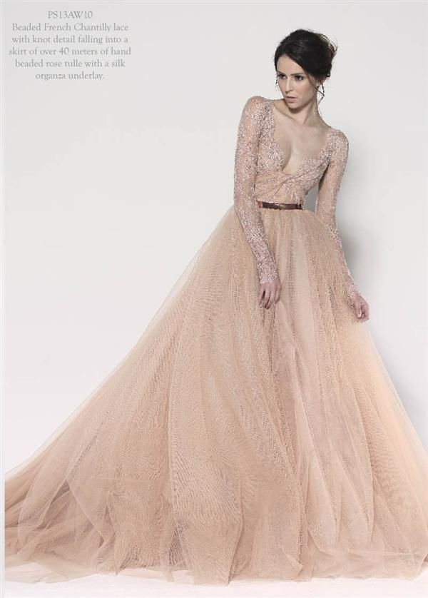 Paolo Sebastian Couture 2013 Peach Gown Not Too Psyched About
