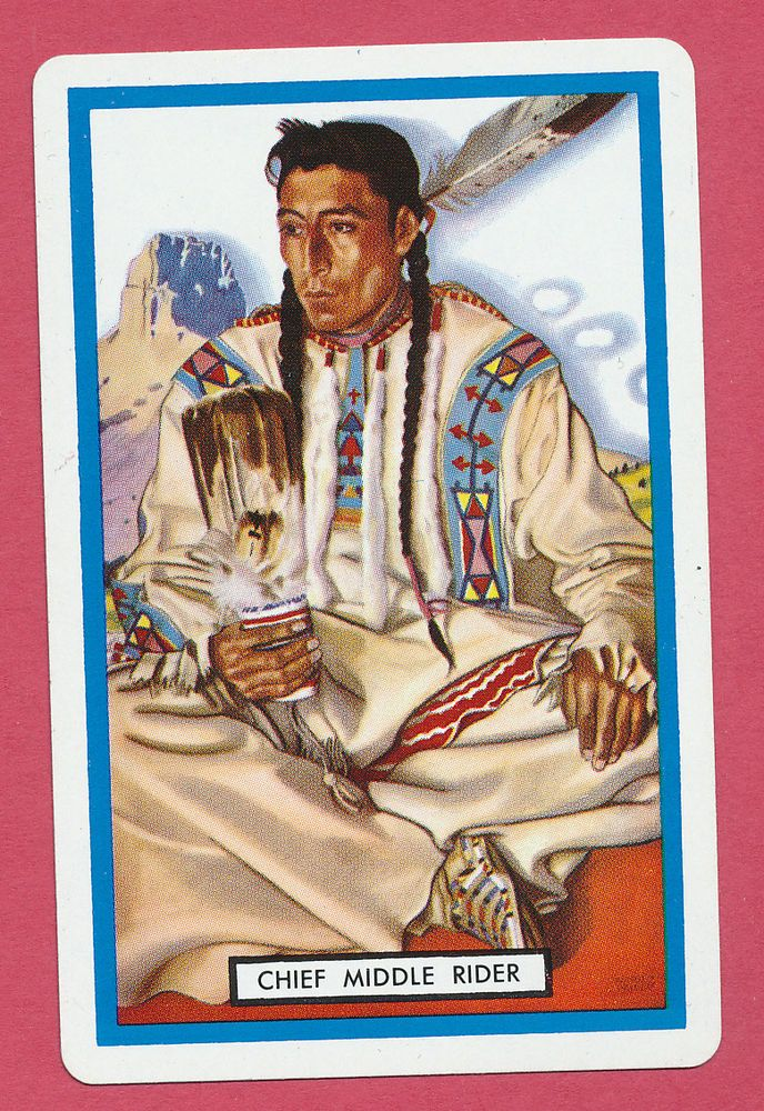Playing Cards 1 Single Swap Card Vintage CARBORUNDUM AD Native American Indian