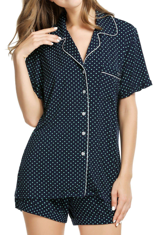 Bluetime womens shortie pajama set short sleeve sleepwear