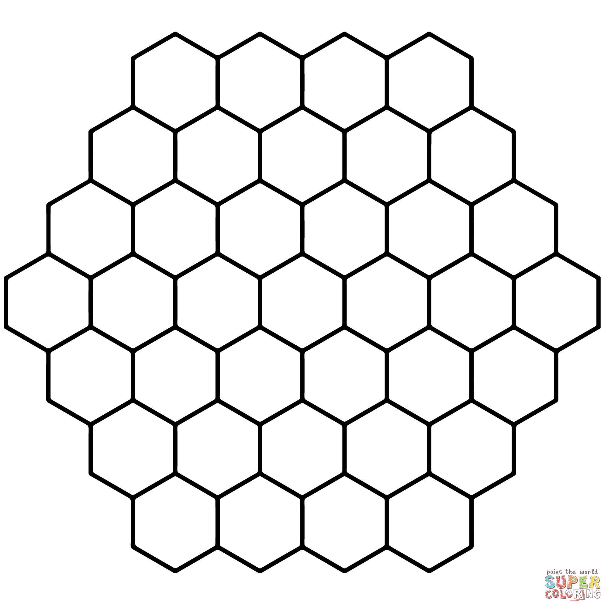 photo regarding Free Printable Hexagon Template identified as Hexagon Honeycomb Tessellation coloring website page Totally free