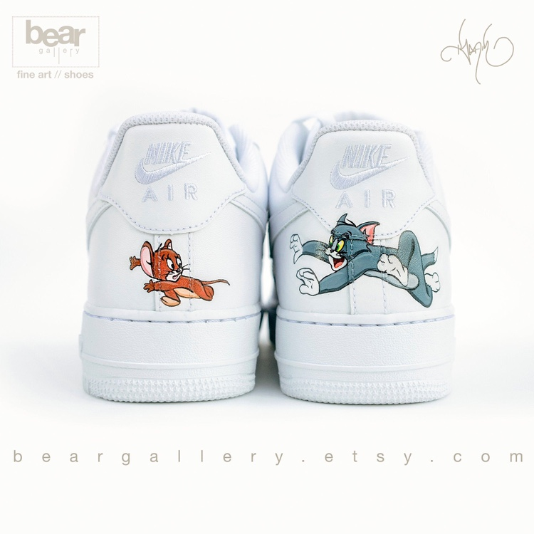 Custom Hand Painted Tom & Jerry Nike Air Force 1s…. – Depop Source by Gr