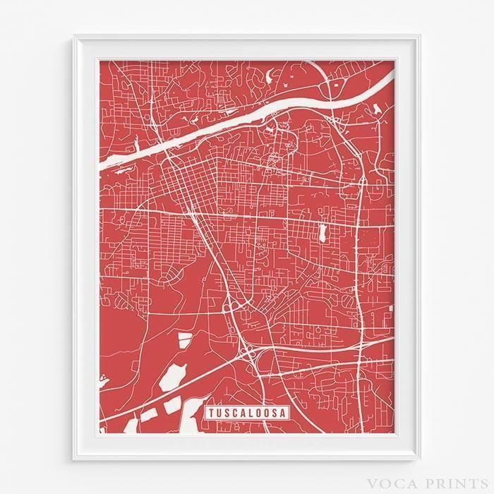 Tuscaloosa alabama street map print Tuscaloosa alabama Modern