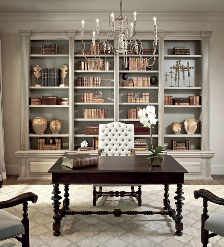 chic inspiration custom bookshelf. dining room idea  dens libraries offices Sherwin Williams Ermine Chic elegant French office with tan walls paint color distressed gray built ins Dining Room Revamp Progress and My Inspiration Elegant