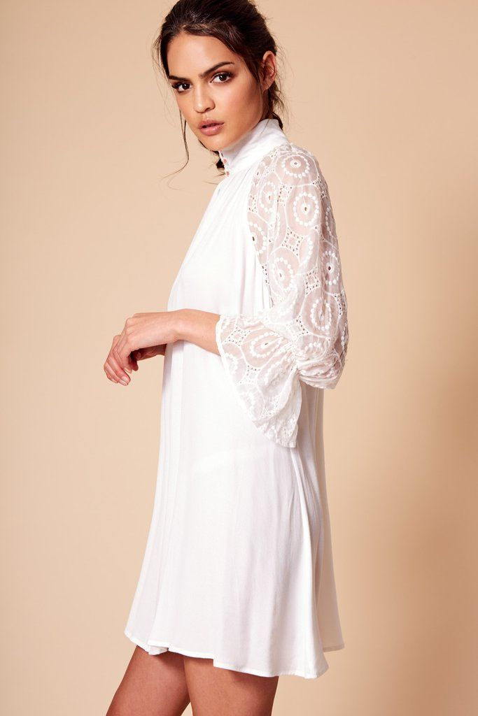 AIMEE HIGH NECK DRESS WHITE