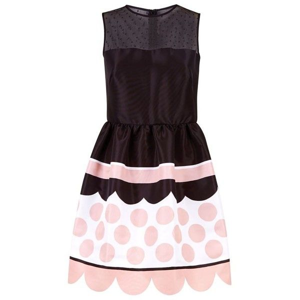 Red Valentino Polka Dot Skater Dress ($910) ❤ liked on Polyvore featuring dresses, mesh inset skater dress, purple skater dress, polka dot dress, skater dress and mesh insert skater dress