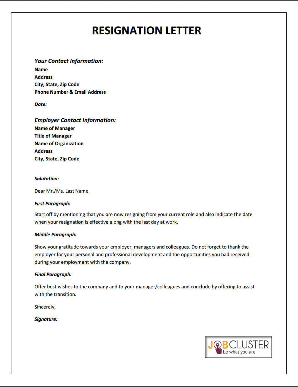 Resignation Letter TemplateJpg  Career Advice Resume Tips