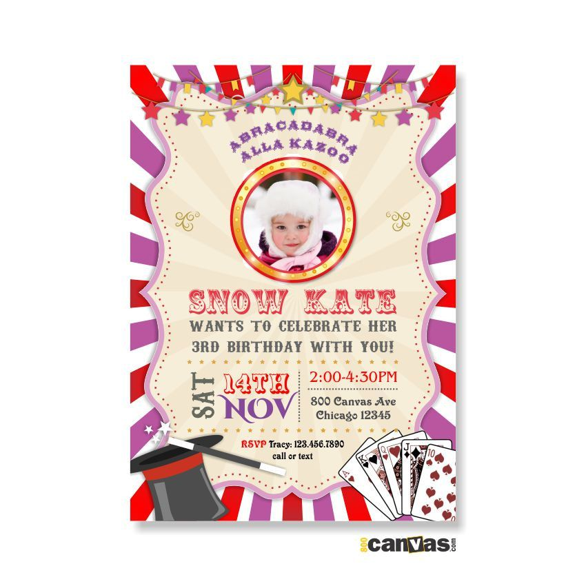 Magic Party Invitation. Magic Birthday Invitation. Magic Invitation. Magician Invitations. Girls Carnival Party Invite. Carnival Circus 310 by 800Canvas on Etsy