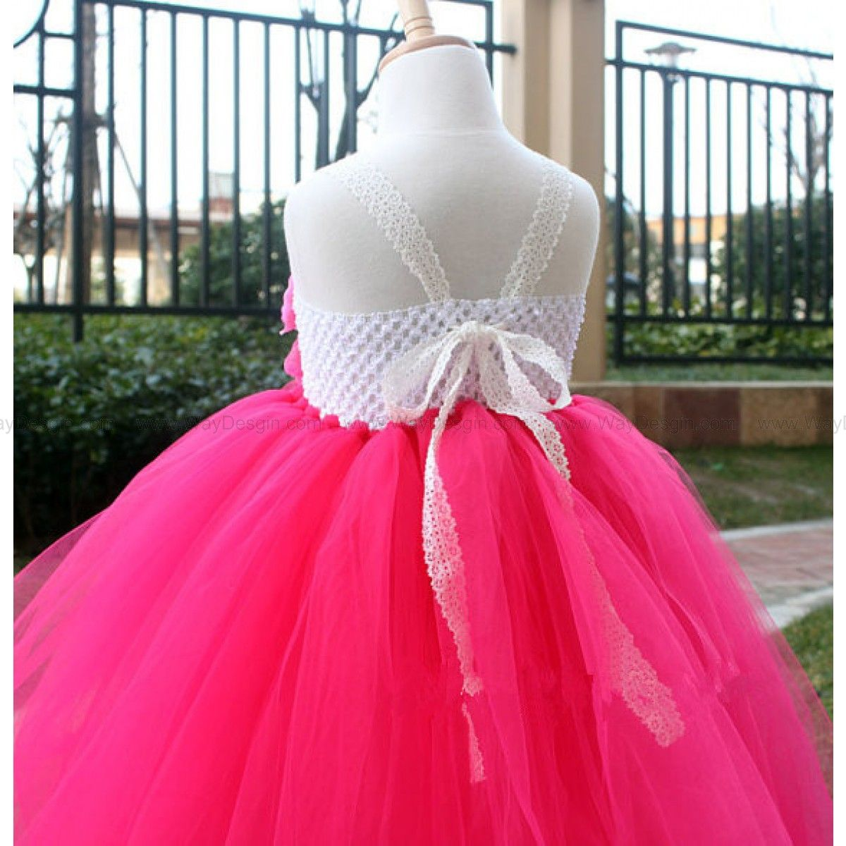 Hot pink Flower Girl Dress Girls Tutu dress toddler birthday dress ...