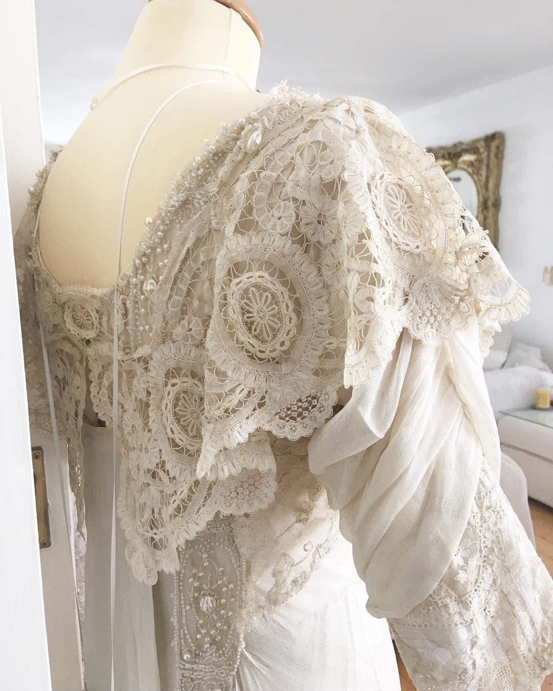 Edwardian lace u chiffon wedding gown antiquelace antiqueirishlace