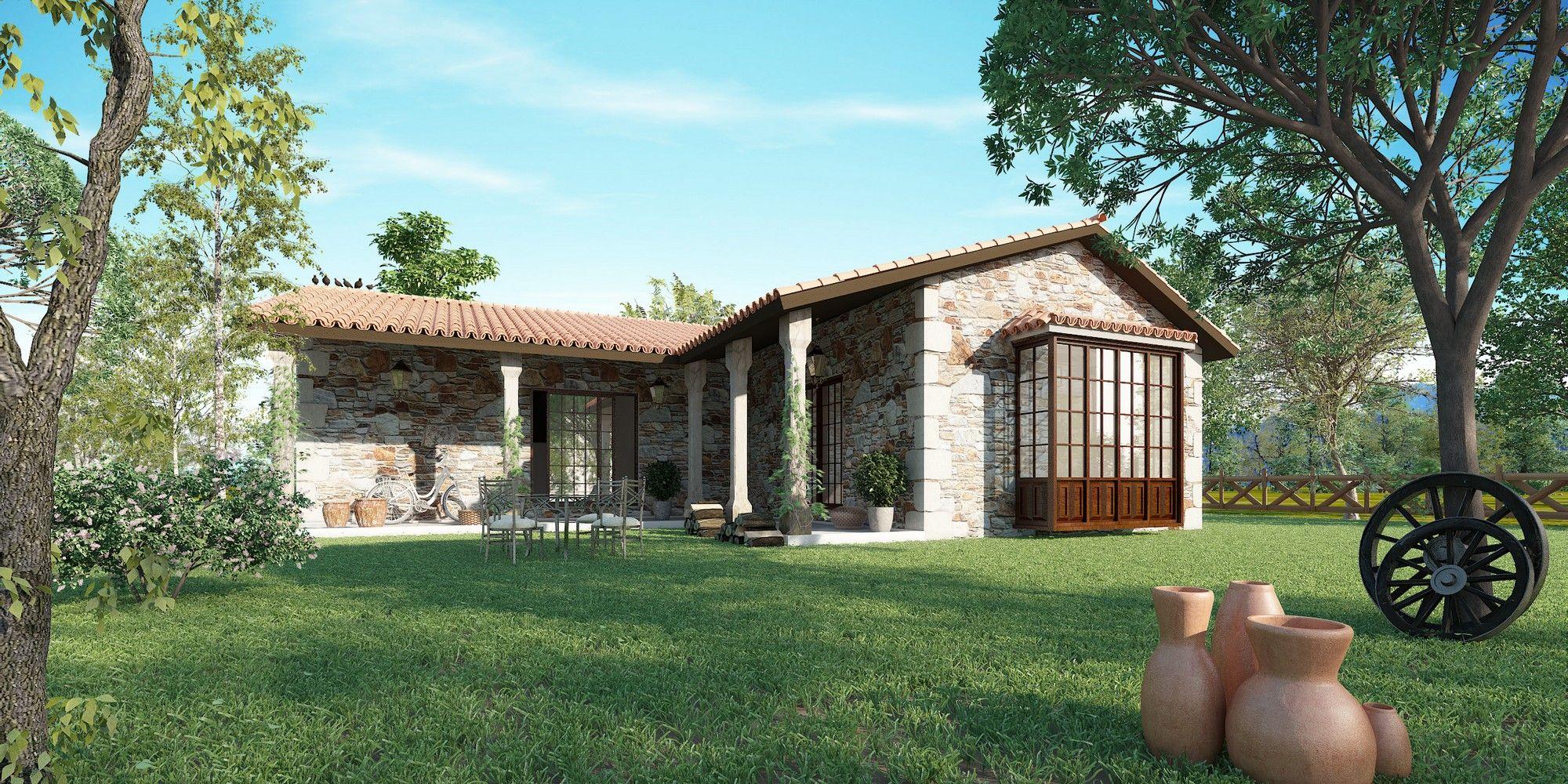 Casa r stica toda en planta baja la planta hace una l con un porche consiguiendo un espacio - Planos de casas de campo rusticas ...