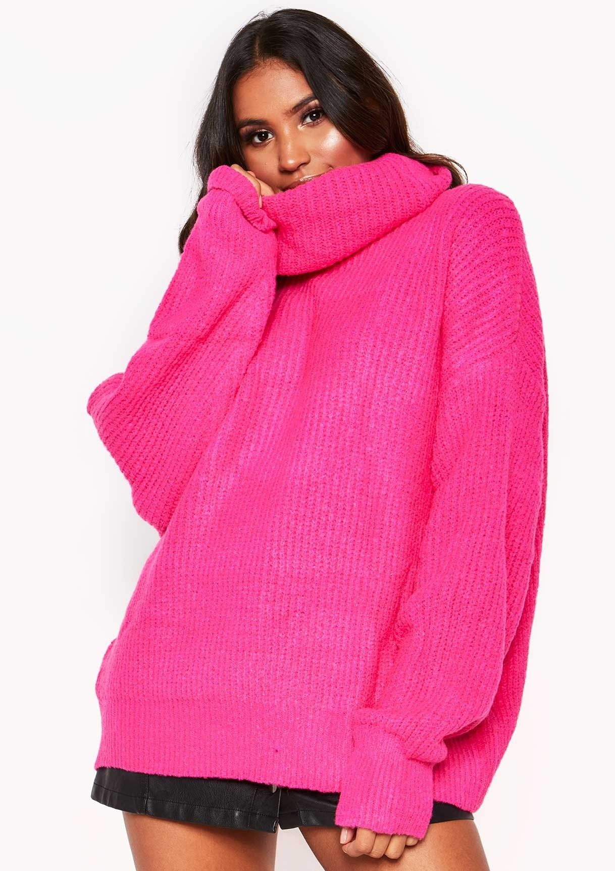 Missyempire - Neon Pink Roll Neck Oversized Knit Jumper  6c283a29a