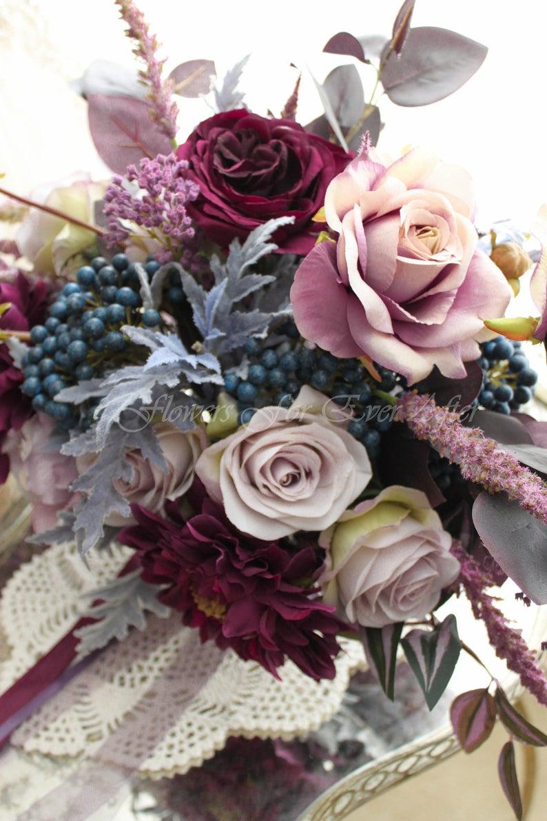 Bold Wedding Moody Purple /& Burgundy Wood Bouquet Romantic Wedding