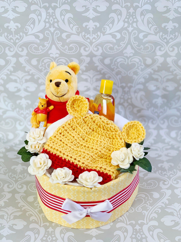 Baby boy one tier honey bear blanket diaper cake an