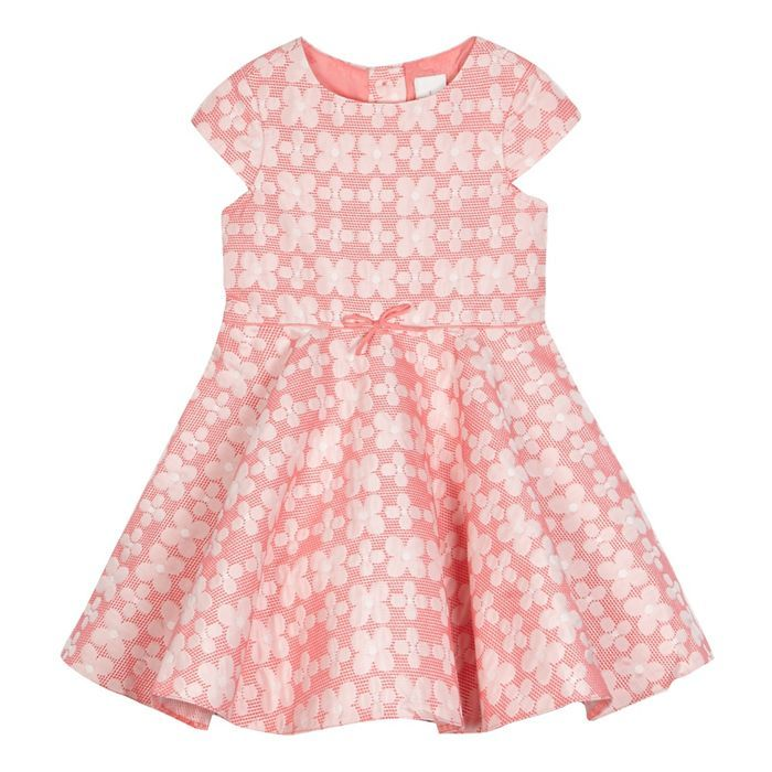 J by Jasper Conran Girls\' pink floral print textured dress ...