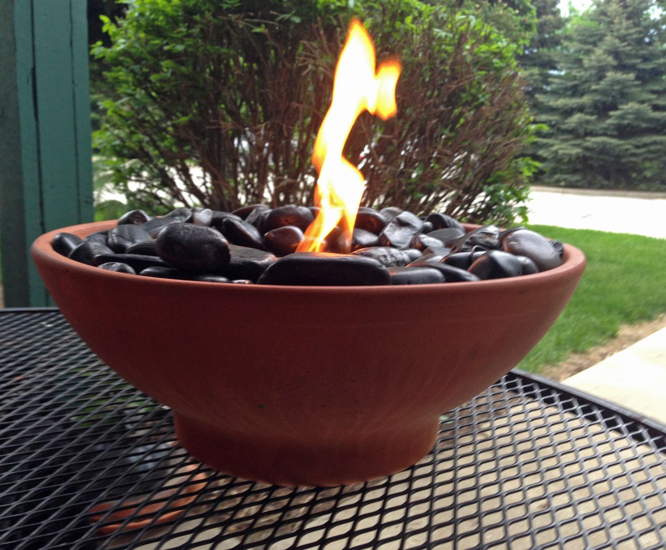 Diy Table Top Fire Pit Made With Black River Rocks And Real