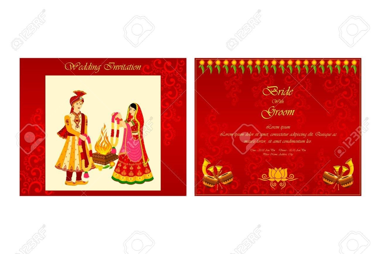 Indian Wedding Invitation Vector Illustration Of Indian Wedding Invitation Card Royalty Free Regiosfera Com Indian Wedding Invitation Cards Hindu Wedding Cards Indian Wedding Cards