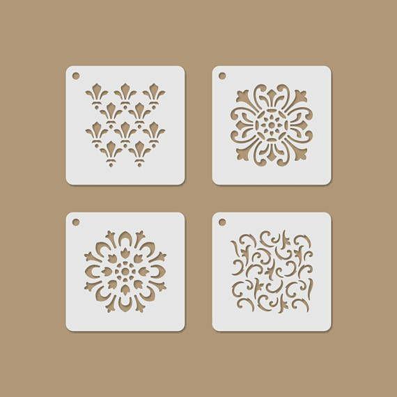 Romantical Motives Mini Reusable Plastic Stencil Set Stencil Designs Wall Paint Designs Stencils Wall