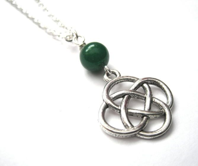Celtic Love Knot Necklace Silver Color Jade And Gemstone