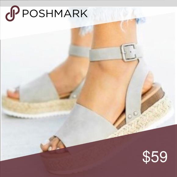 ♥️Gray Espadrilla Wedge Sandals... Sale!!
