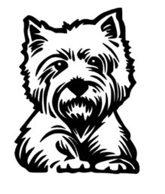 Westie Dog Decal | Products | Dog stencil, Westies et Dogs