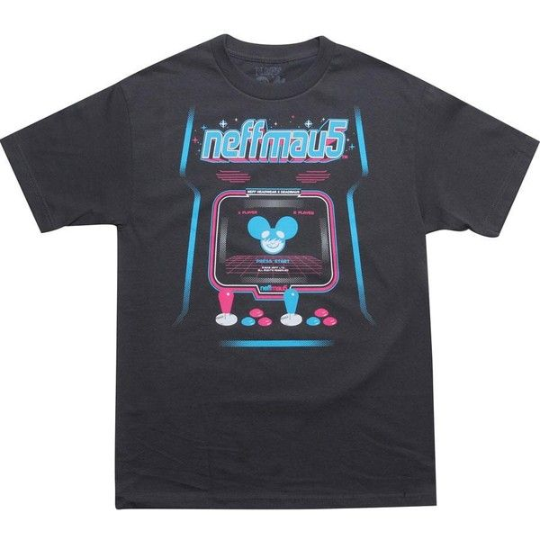 Neff x Deadmau5 Arcade Tee (charcoal) Apparel ($24) ❤ liked on Polyvore