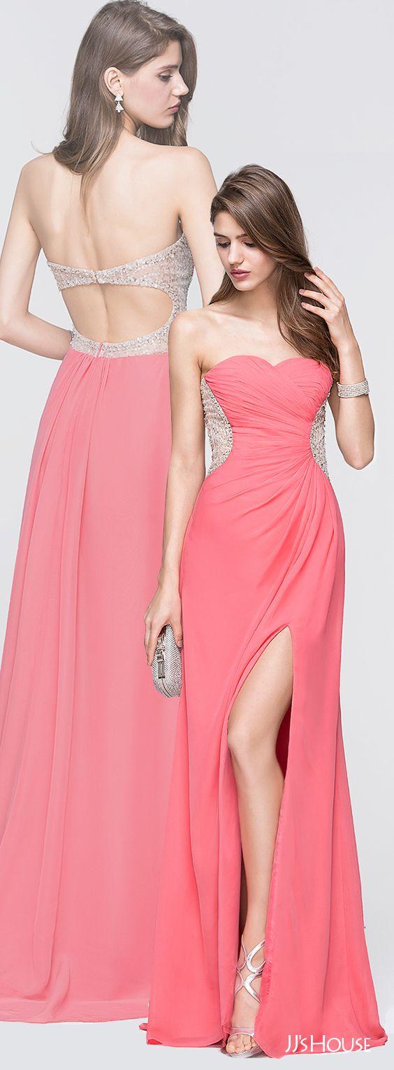 A-Line/Princess Sweetheart Sweep Train Chiffon Prom Dresses With ...