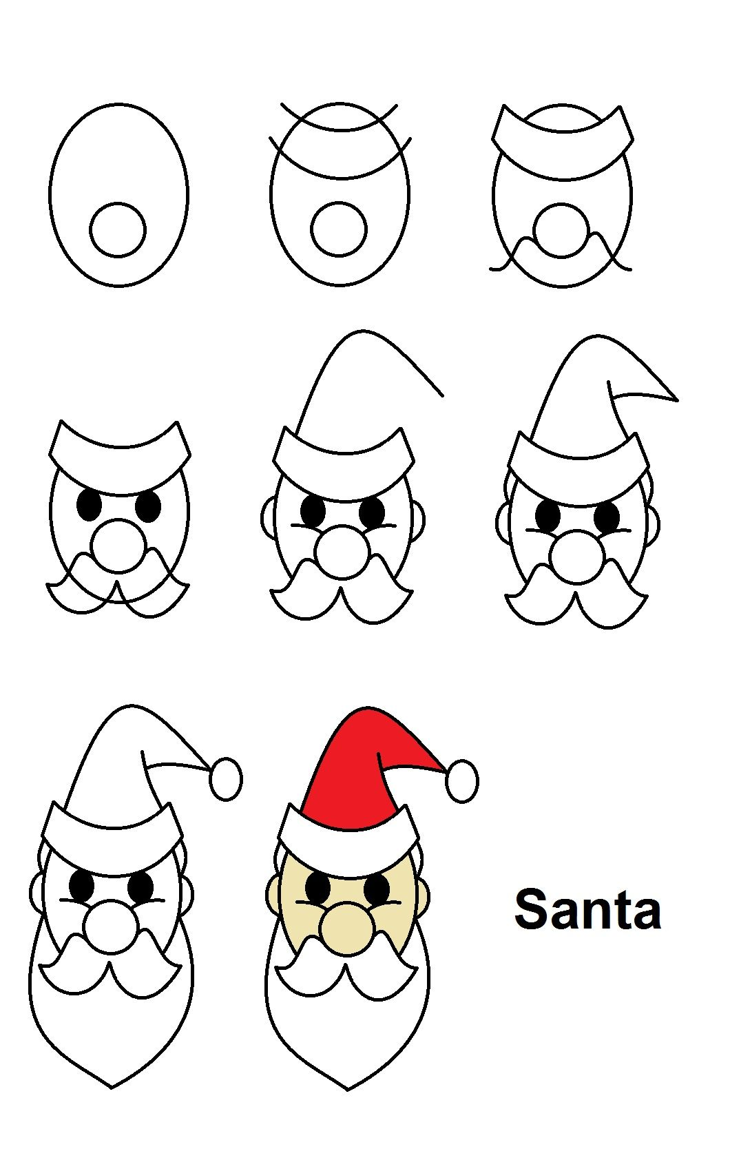Stepbystep tutorial to draw Santa Claus. (With images