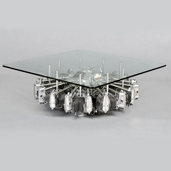 old plane engine used as coffee table base according to design milk the cylinder