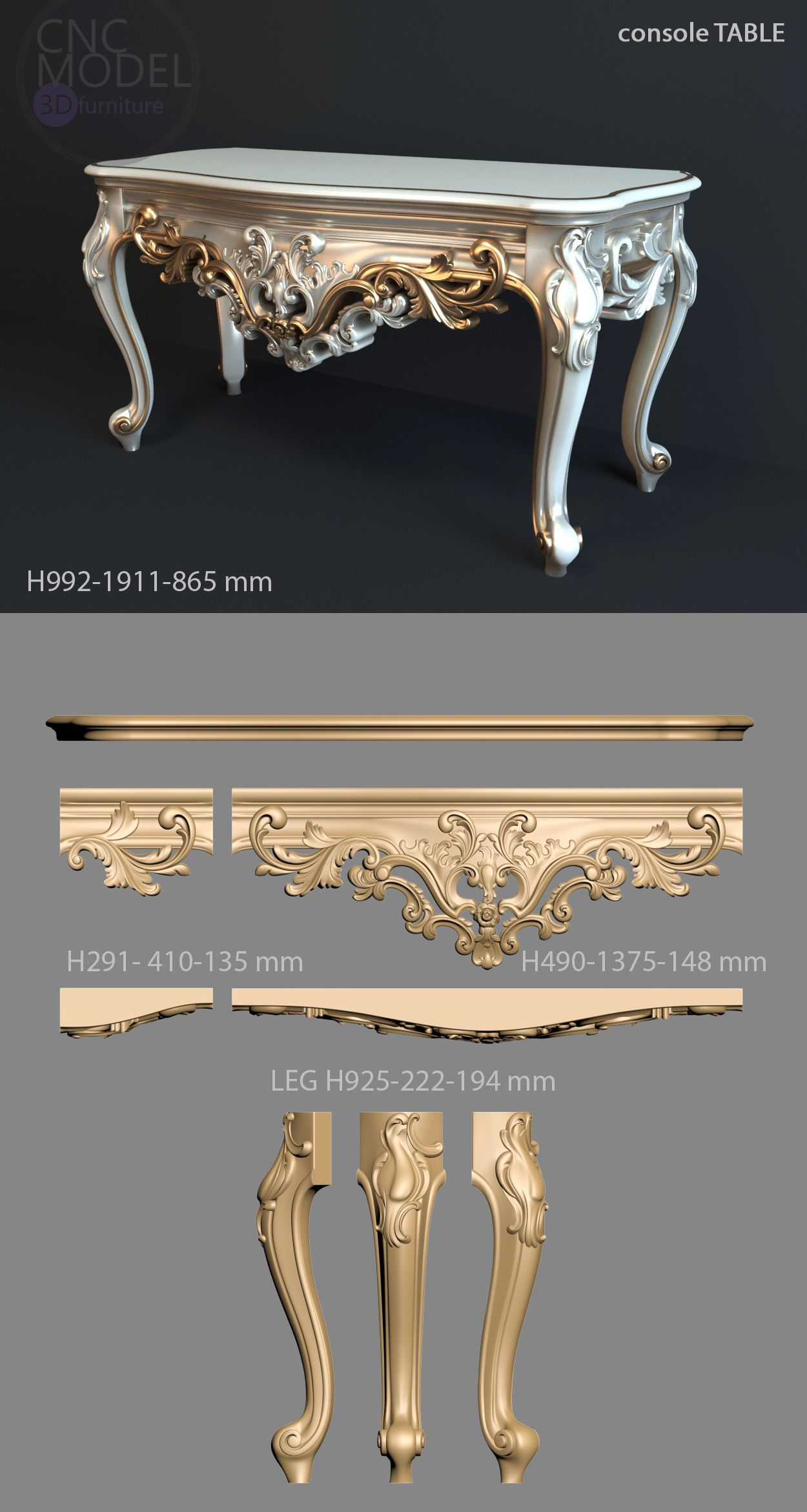 Luxury Showcase For Living Room Royal Art Deco: A1302 Console TABLE Cnc-model.com 3D Model For Cnc Router