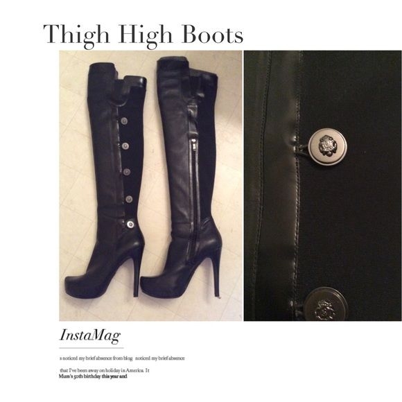 0bb137ff0ce Guess by Marciano Netania Boots ♥ Guess by Marciano thigh high boots. Made  of beautiful authentic soft leather. The fabric in back is great quality to  ...