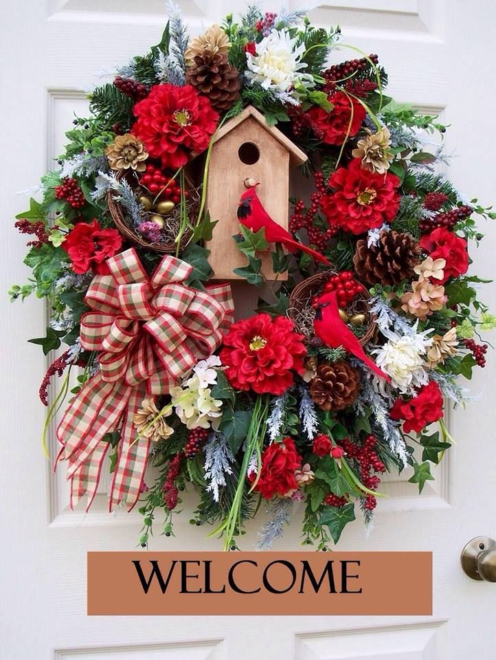 Christmas Wreath with Cardinals and bird house