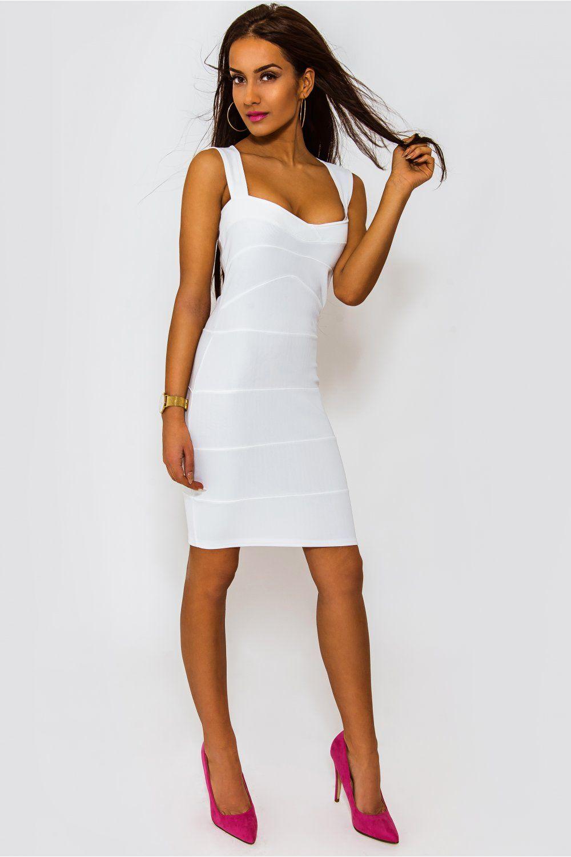 Plunge Bandage Bodycon Dress White - Dresses - Bodycon Dresses ...