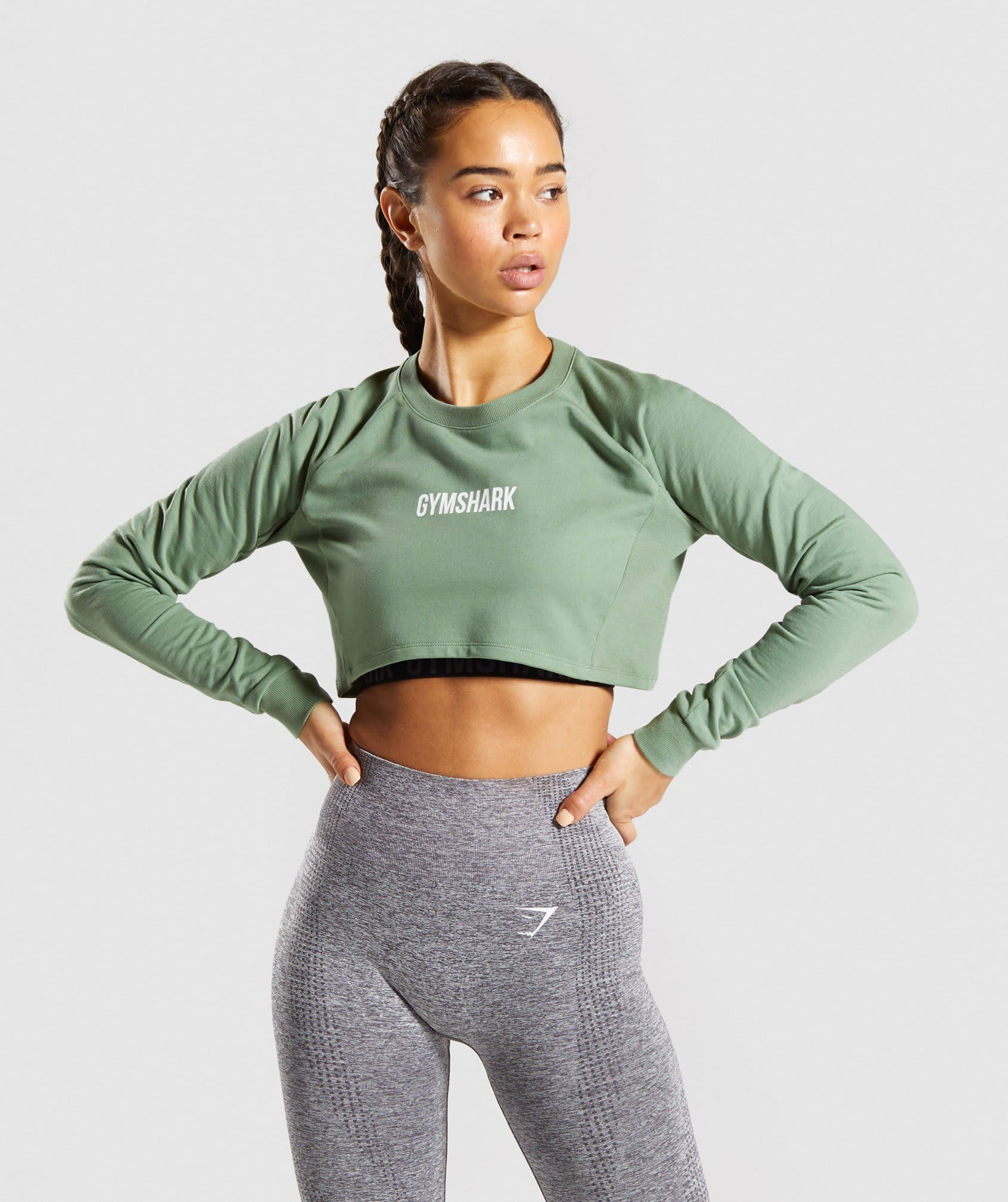 Gymshark Training Cropped Sweater Green Womens Workout Outfits Cropped Sweater Green Sweater [ 2018 x 1692 Pixel ]