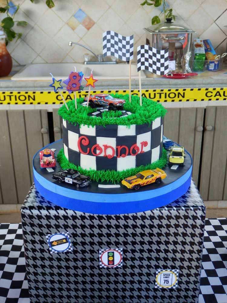 Amazing cake at a Hot Wheels birthday party! See more party ideas at CatchMyParty.com!