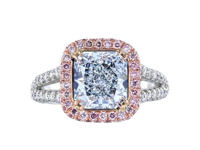 2.43ct Natural Blue Diamond & Pink Diamond Ring