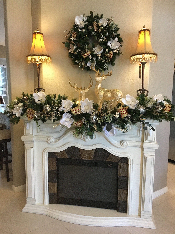 "Photo of Set of Pure White Magnolia Wresth and Garland 6 feet. Lxury ""D Steven's"" geniune lattice ribbon."