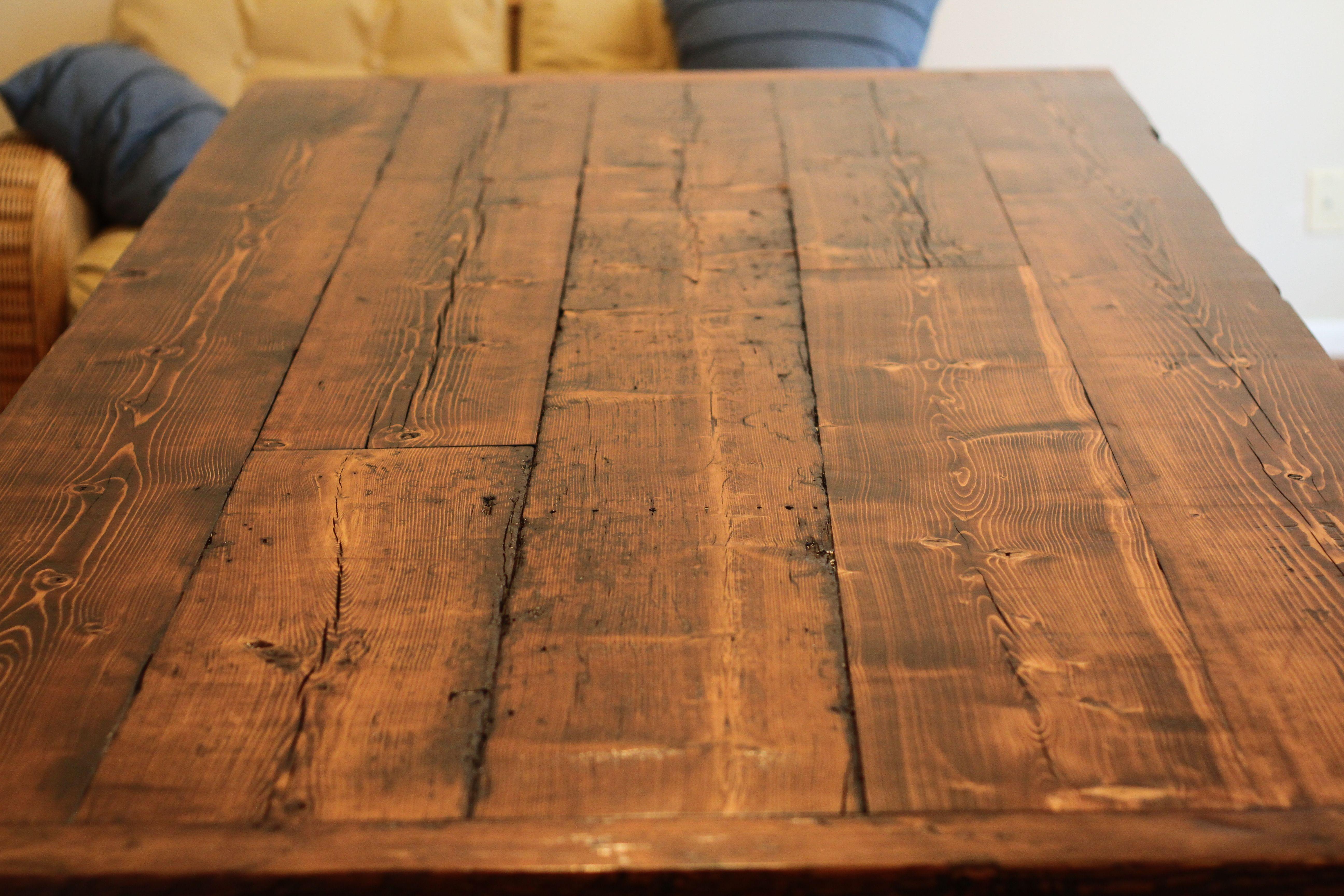 Wood Table Top View Madeira Recuperada Madeira