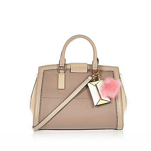 Beige Ladylike Structured Pom Tote Bag Per Bags Purses