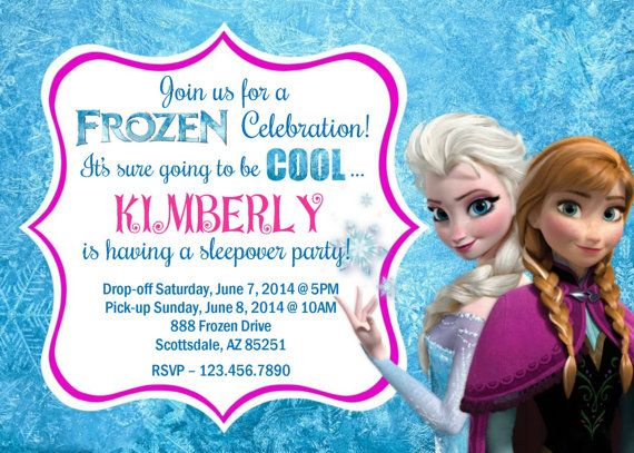 frozen sleepover invitation disney ispired by partyprintsdiscount, Birthday invitations
