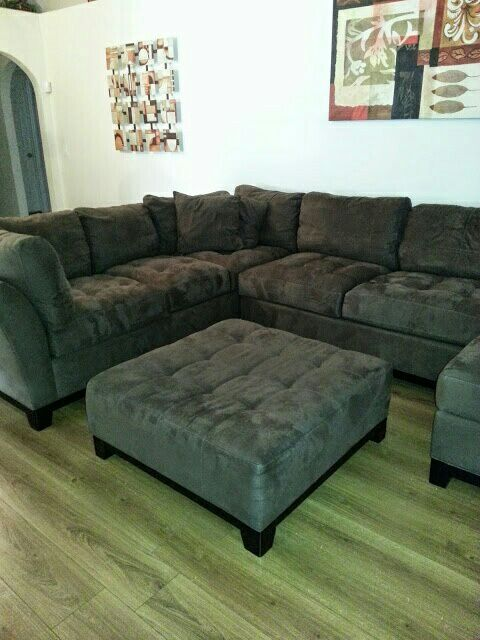 microsuade espresso 3 piece sectional from rooms to go scotch