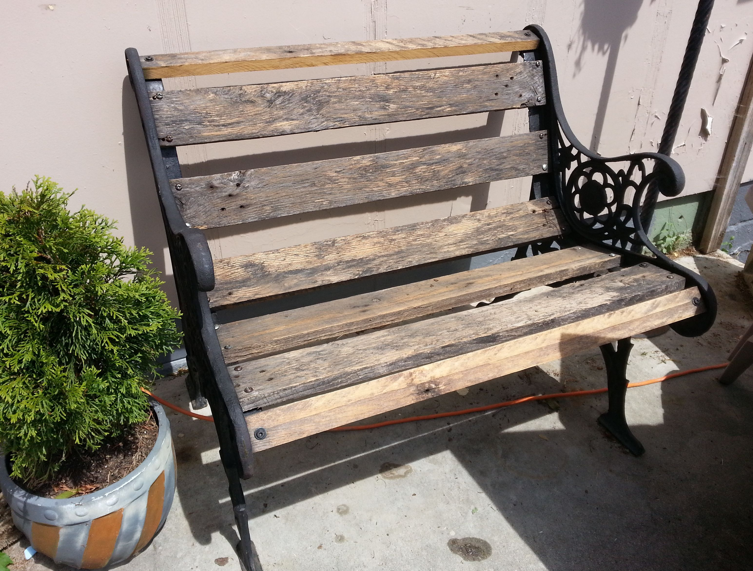 Recycled Cast Iron Chair Ends With Old Pallet Slats Wrought Iron