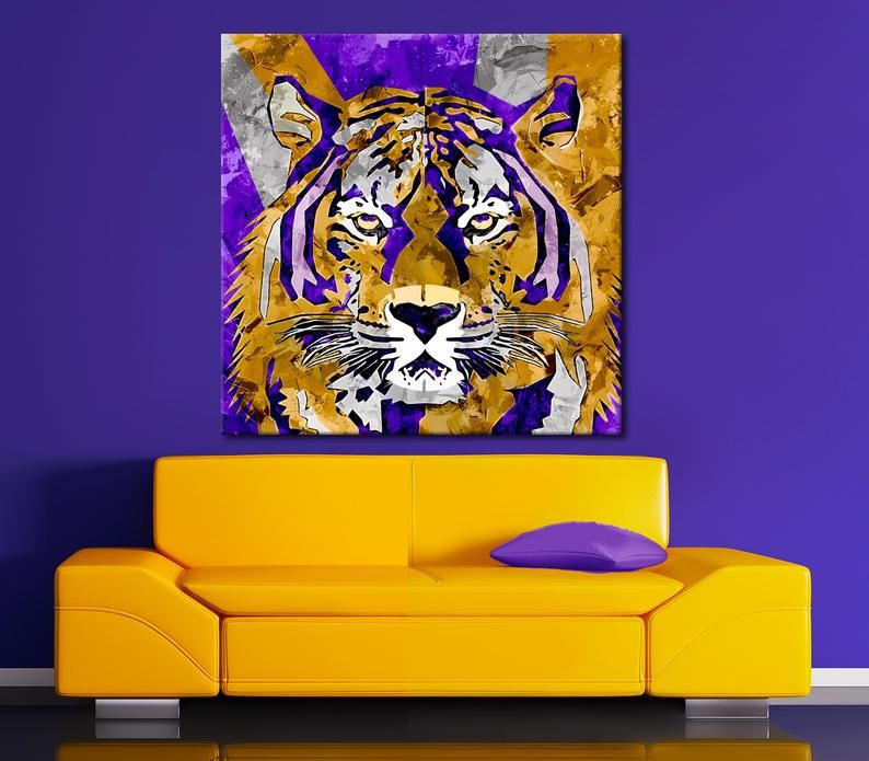 You Geaux Tiger Wildlife Wall Art Lsu Football Art Hold Em Image 1 Tiger Canvas Football Art Art