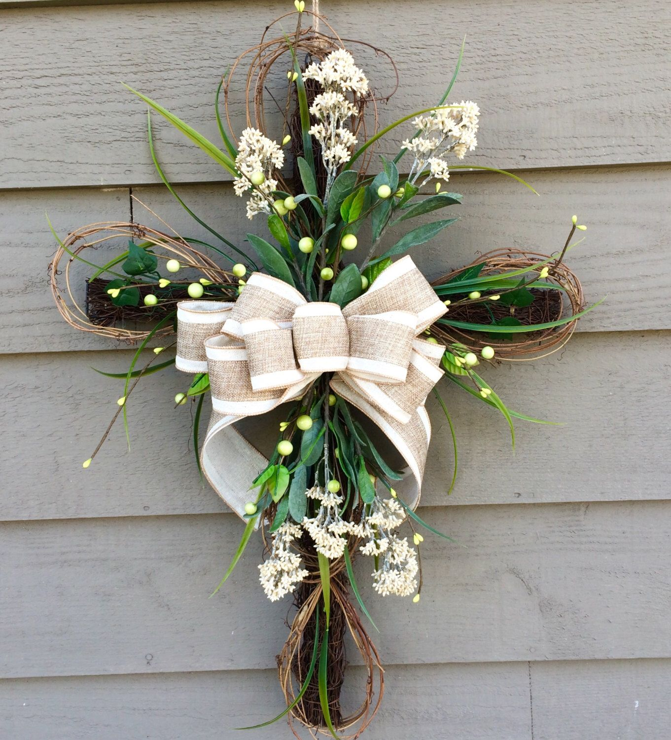 Easter Cross, Floral Cross, Cross Door Hanger, Easter Wreath ...