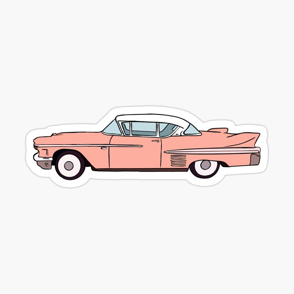 Get My Art Printed On Awesome Products Support Me At Redbubble Rbandme Https Www Redbubble Com I Sticker Pink Car Cartoon Car Drawing Car Cartoon Pink Car [ 1000 x 1000 Pixel ]