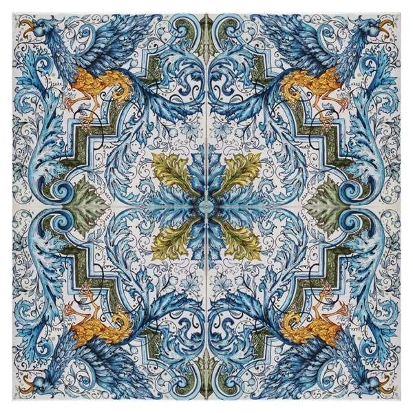 Italian Ceramics Tile Mural Floor Panel Table Top Gryphon
