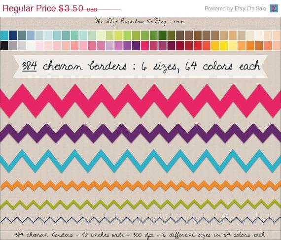 SALE 384 chevron borders edging banners cliparts 64 rainbow colors Digital Scrapbooking kit invitation Instant download