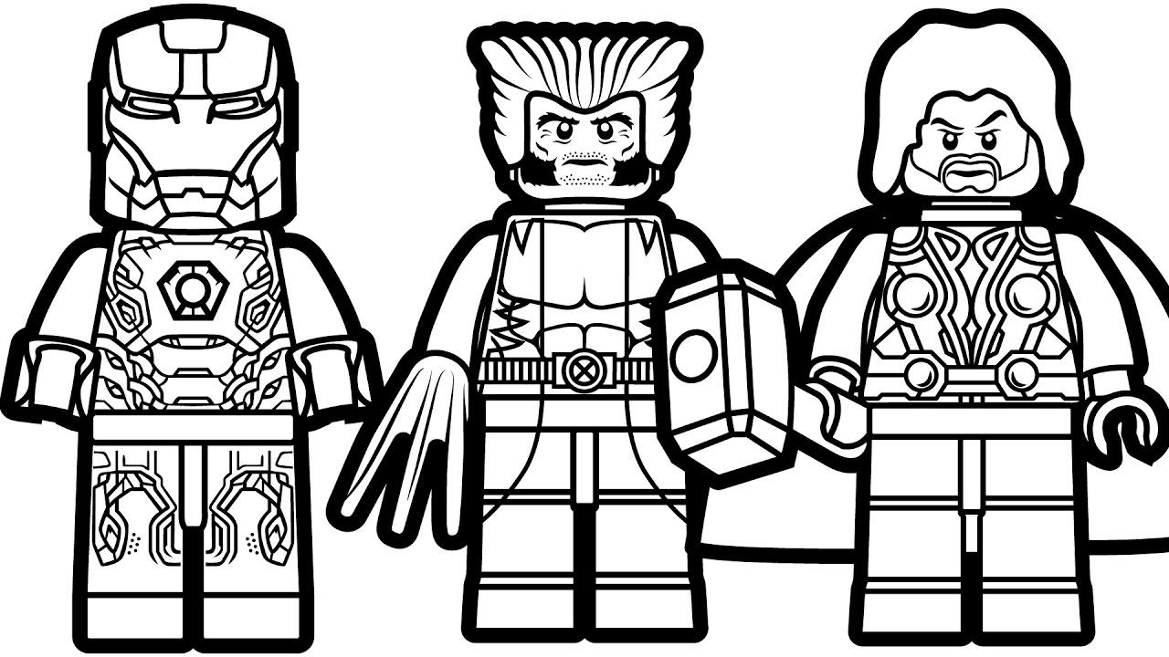 Lego Iron Man And Lego Wolverine Lego Thor Coloring Book Superhero Coloring Marvel Coloring Superhero Coloring Pages