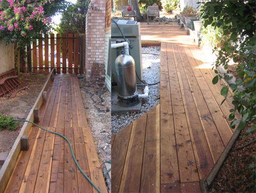 wood deck walkway backyard pinterest walkways decking and woods. Black Bedroom Furniture Sets. Home Design Ideas